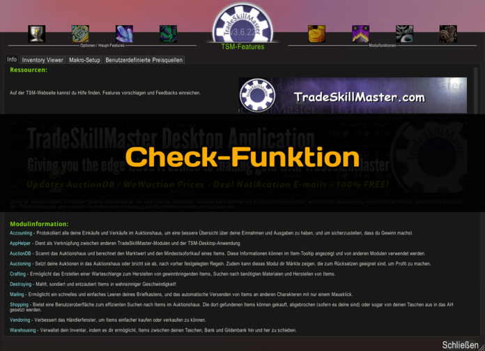 TSM Check Funktion