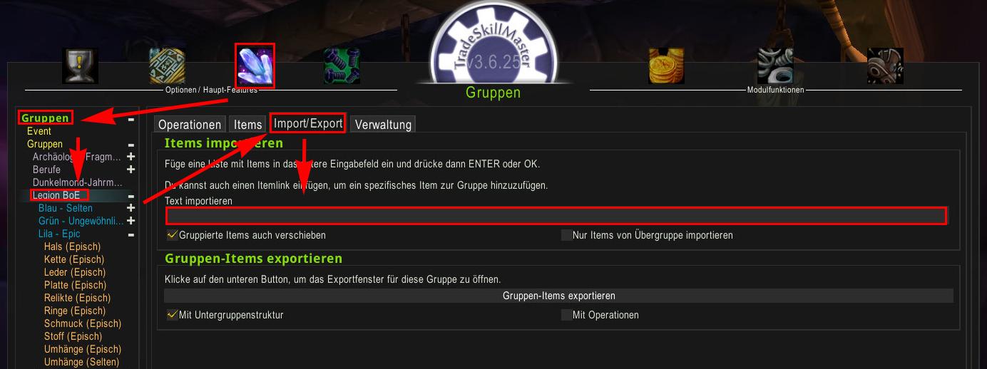 TSM Sniper Guide - Importieren